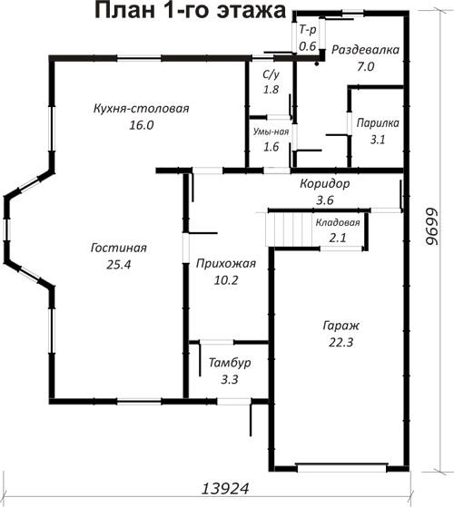 Проект каркасного дома рп 68 186 4 кв м